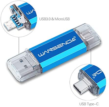 128GB 3 in 1 Memory Stick USB 3.0 USB Stick 128GB Wansenda USB Type C Pen Drive OTG Flash Drive For Micro USB/Type-C Android Devices/PC/Mac (128GB, Blue)