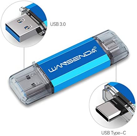 128GB USB Stick USB 3.0 memory stick 128GB Wansenda USB Type C Pen Drive OTG Flash Drive For Type-C Android Devices/PC/Mac (128GB, Blue)
