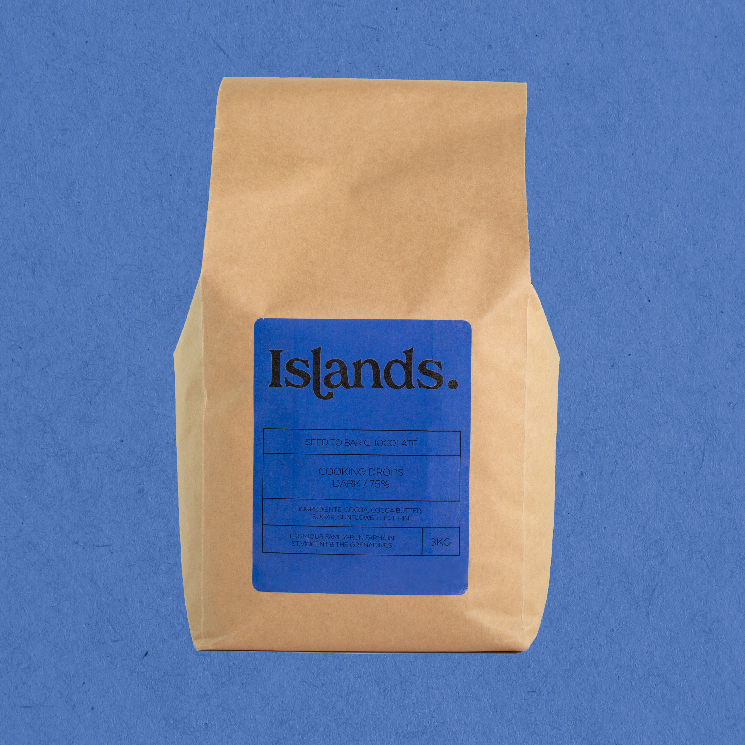 Islands Chocolate - 75% - Premium Chef's Dark Chocolate Buttons- 1kg Resealable Bag - Perfect for Cooking, Baking, Sharing and Snacking- Vegan, Sustainable & Single Origin Caribbean Cocoa